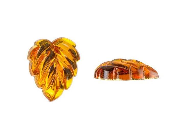 12mm Czech Glass Leaf Foiled Back Cabochon - Topaz