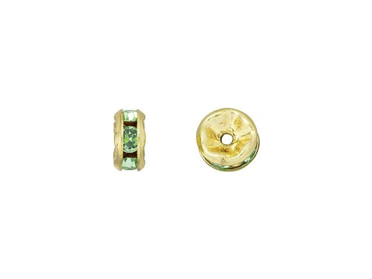 Gold-Plated 5mm Peridot Rhinestone Rondelle Spacer