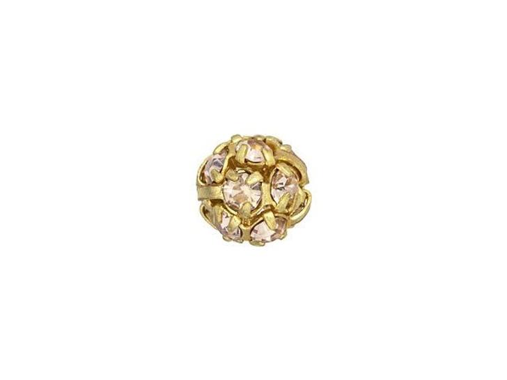 Gold-Plated 6mm Light Rosaline Rhinestone Ball Bead