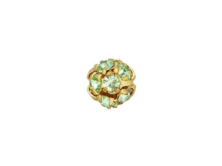 Gold-Plated 6mm Peridot Rhinestone Ball Bead
