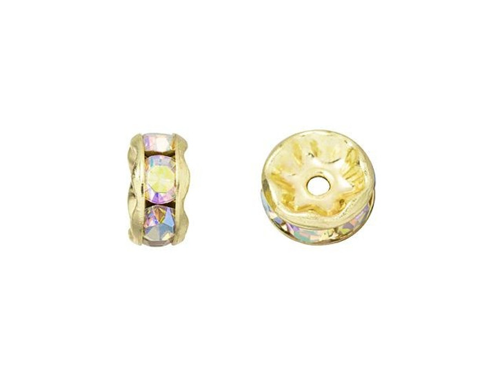 Gold-Plated 7mm Crystal AB Rhinestone Rondelle Spacer