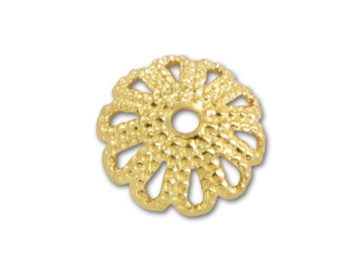 Gold-Plated 7mm Dotted Bead Cap (Min Qty 10)