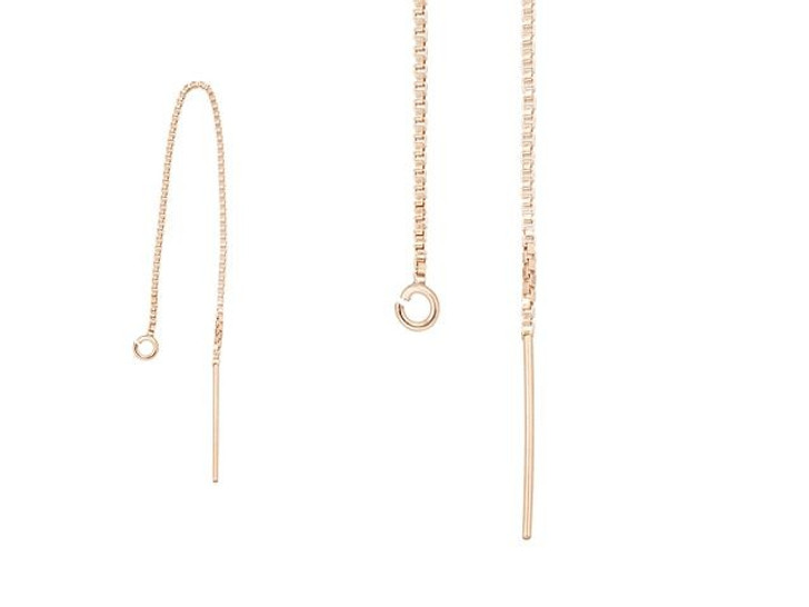 Rose Gold-Filled 14K/20 Box Chain Ear Thread with Ring (Pair)