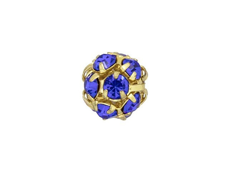 Gold-Plated 8mm Sapphire Rhinestone Ball Bead