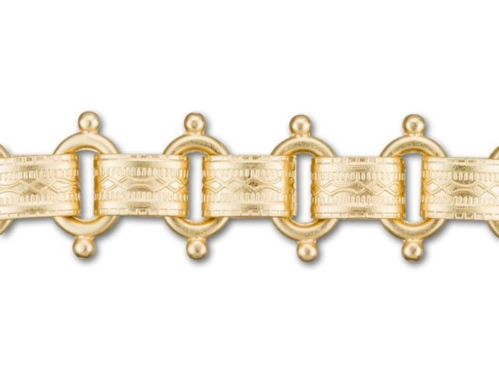 12mm Satin Hamilton-Gold-Plated Beaded Vintage Reproduction Chain by the Foot