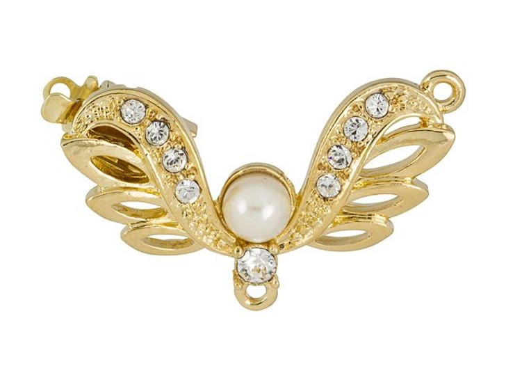 Gold-Plated Angel Wings Clasp with White Pearl and Clear Swarovski Crystals