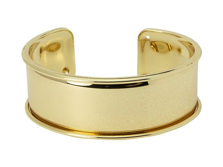 Gold-Plated Brass Bracelet Base for Seed Beads/20mm Flat Cord