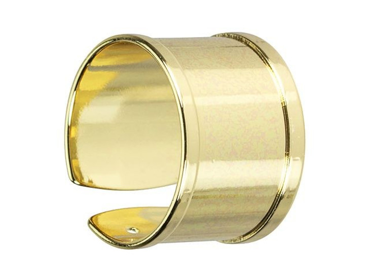 Gold-Plated Brass Ring Base for Seed Beads/10mm Flat Cord