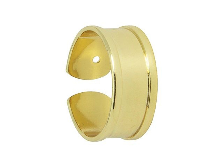 Gold-Plated Brass Ring Base for Seed Beads/5mm Flat Cord
