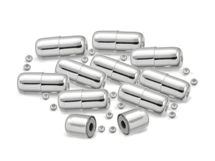 12mm Sterling Silver Hide-A-Crimp Magnetic Clasp Set Bulk Pack (10 Pcs)