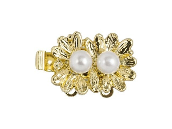 Gold-Plated Double Daisy Clasp with Swarovski Pearls