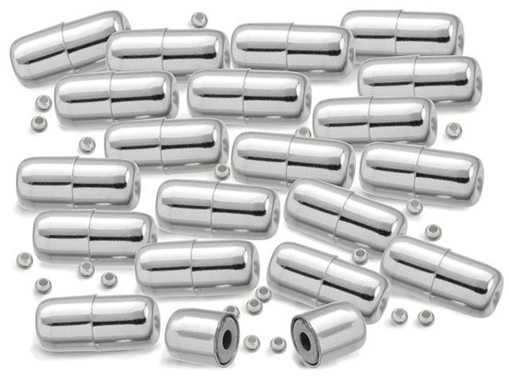 12mm Sterling Silver Hide-A-Crimp Magnetic Clasp Set Bulk Pack (20 Pcs)