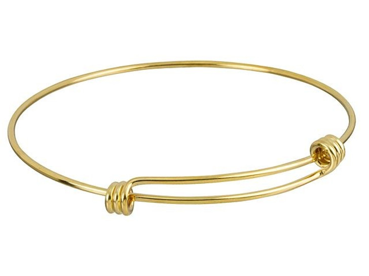 Gold-Plated Expandable Wire Charm Bracelet