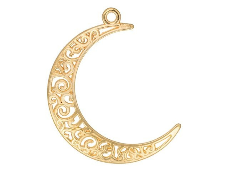 Gold-Plated Filigree Moon Pendant