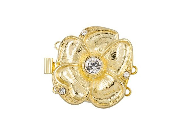 Gold-Plated Large Flower Clasp with Swarovski Crystal