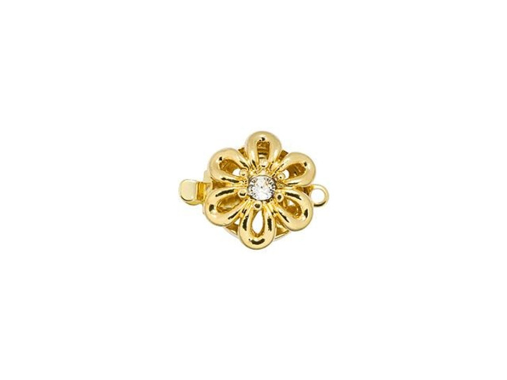 Gold-Plated Small Flower Clasp with Swarovski Crystal
