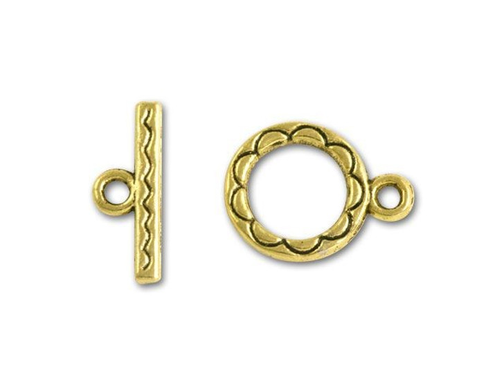 Gold-Plated Swiggle Line Toggle Clasp