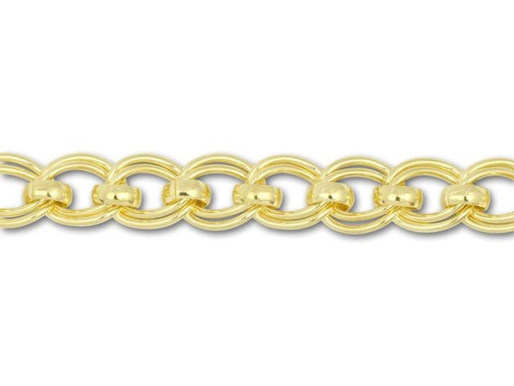 Gold-Plated Twisted Double Link with Rollo Links Curb Chain by the Foot