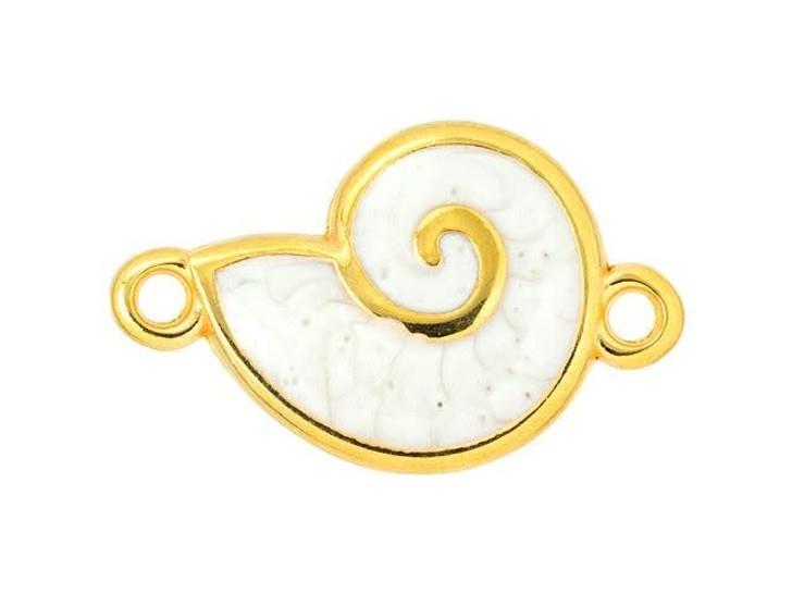 Gold-Plated White Enamel Shell Link