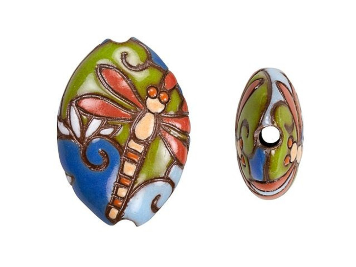 Golem Design Studio Stoneware Almond Bead - Dragonfly and Lotus