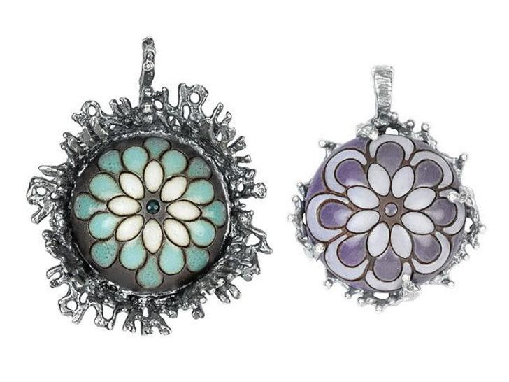 Golem Design Studio Stoneware Brown and White Paisley 24mm Cabochon