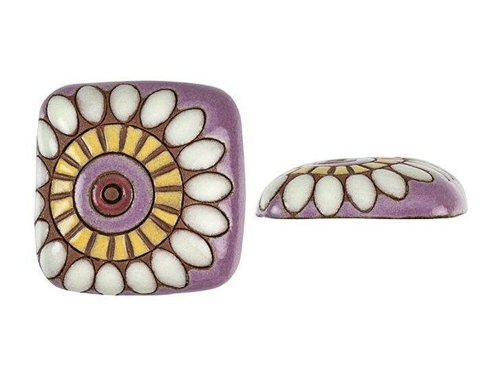 Golem Design Studio Stoneware Cabochon - Dragon Eye Flower on Purple Design