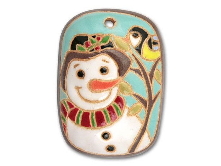 Golem Design Studio Stoneware Christmas Rectangle Pendant - Snowman with Bird