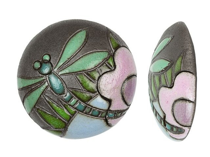Golem Design Studio Stoneware Dark Dragonfly 24mm Cabochon