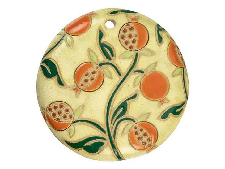 Golem Design Studio Stoneware Large Round Pendant - Pomegranates on Sand Design