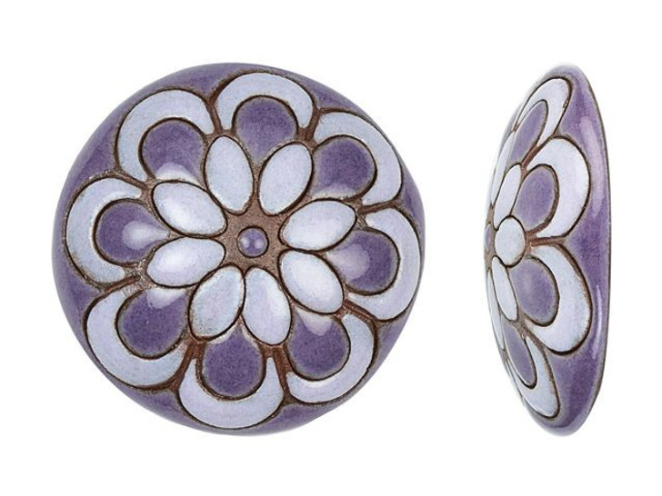 Golem Design Studio Stoneware Lavender and Purple Flower 24mm Cabochon