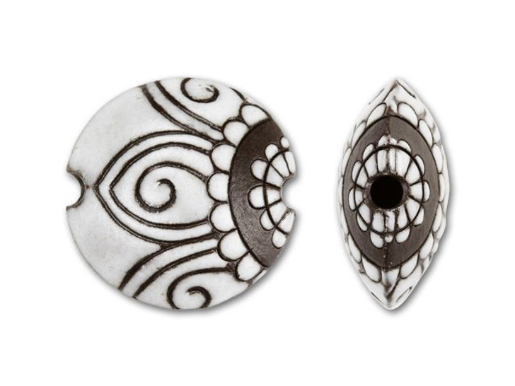 Golem Design Studio Stoneware Lentil Bead - Brown and White Paisley Design