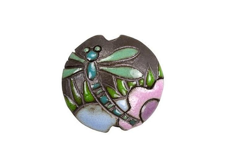 Golem Design Studio Stoneware Lentil Bead - Dark Dragonfly