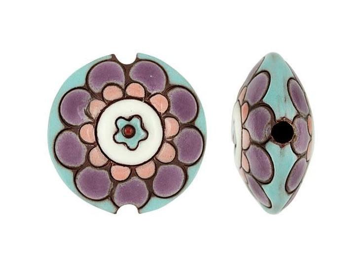 Golem Design Studio Stoneware Lentil Bead - Flower Mandala Design