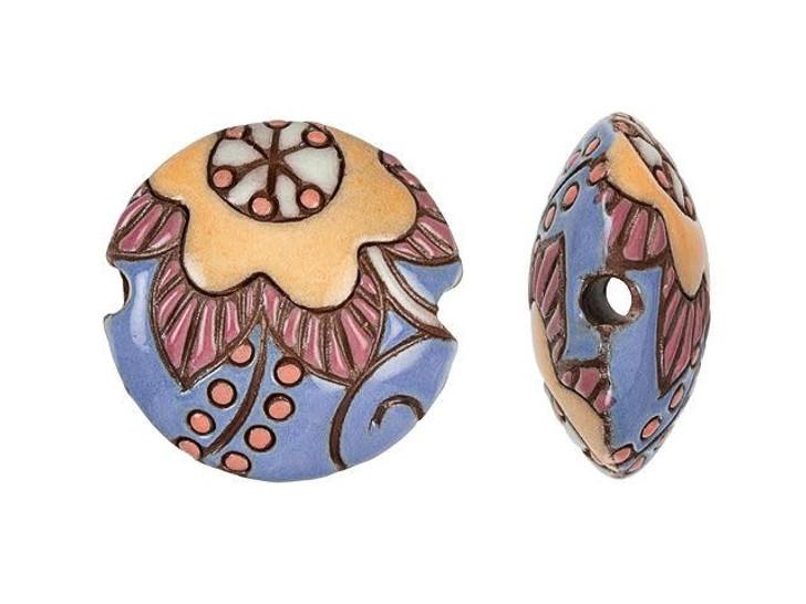 Golem Design Studio Stoneware Lentil Bead - Lavender, Terracotta Cotton Flower Design