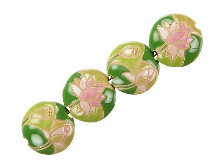 Golem Design Studio Stoneware Lentil Bead - Lotus Design