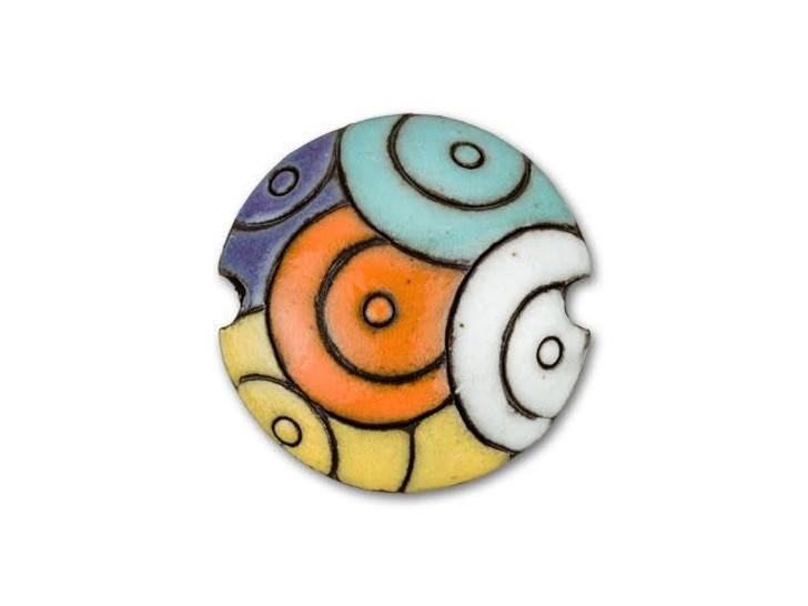 Golem Design Studio Stoneware Lentil Bead - Multi-Colored Circle Design