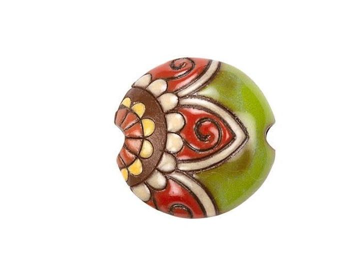 Golem Design Studio Stoneware Lentil Bead - Red and Green Paisley Flower Design