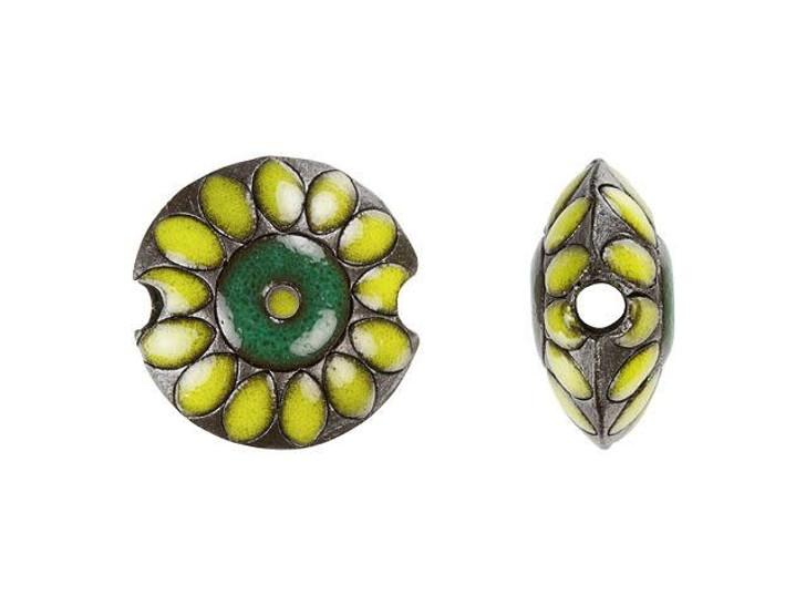 Golem Design Studio Stoneware Lentil Bead - Small Yellow Flower Design