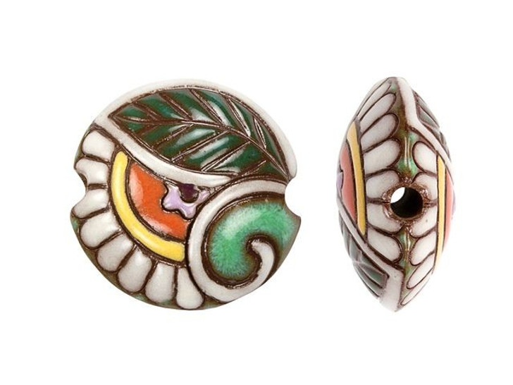 Golem Design Studio Stoneware Lentil Bead - Spiral and Foliage Paisley Design