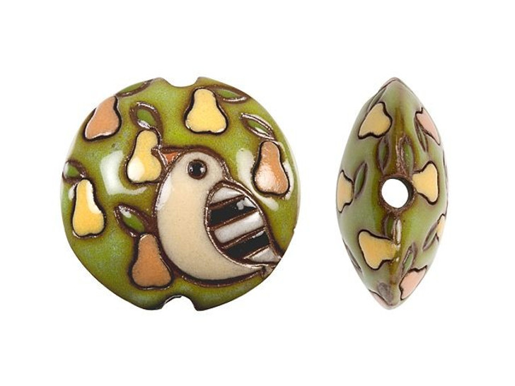 Golem Design Studio Stoneware Lentil Bead - Terracotta Partridge on a Pear Tree Design