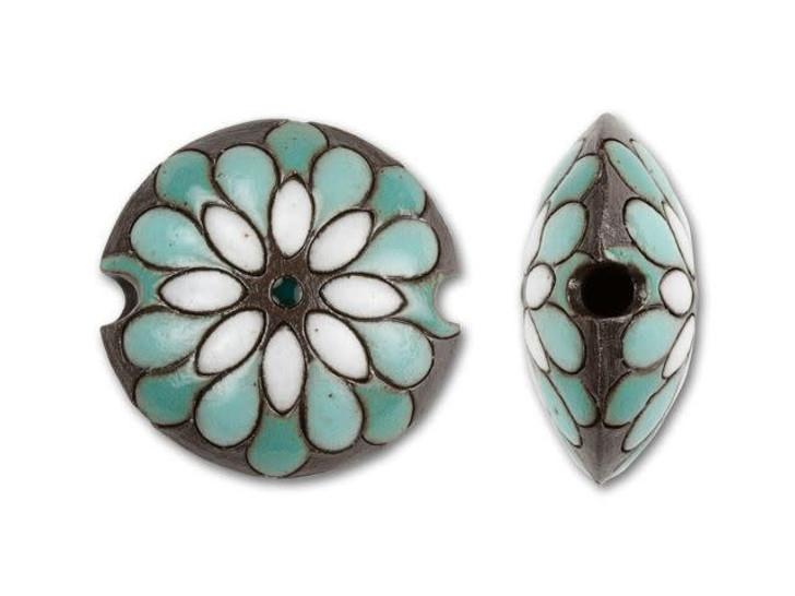 Golem Design Studio Stoneware Lentil Bead - Turquoise and White Peacock Design