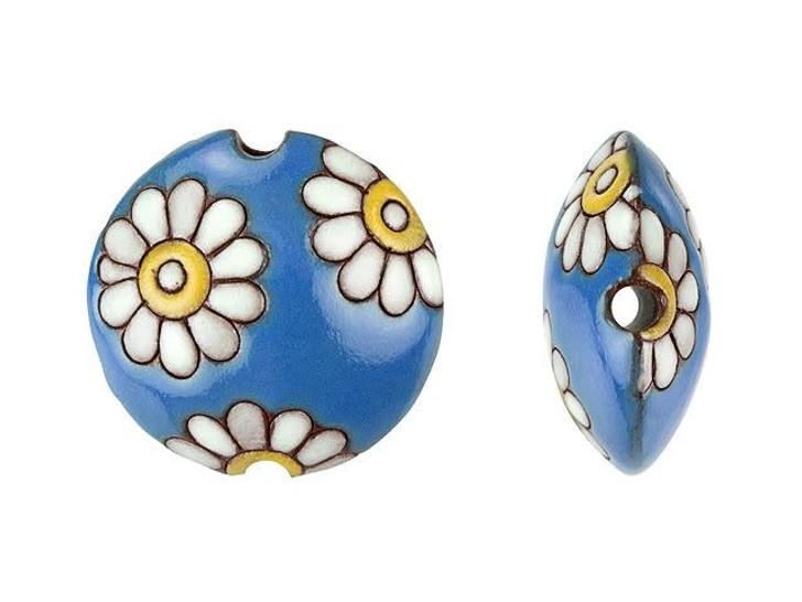 Golem Design Studio Stoneware Lentil Bead - White Daisies on Blue Design
