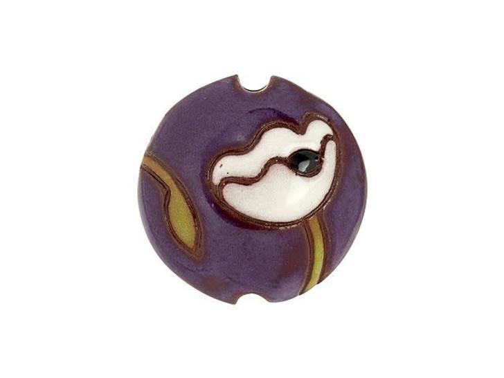 Golem Design Studio Stoneware Lentil Bead - White Poppies on Purple Terracotta Design