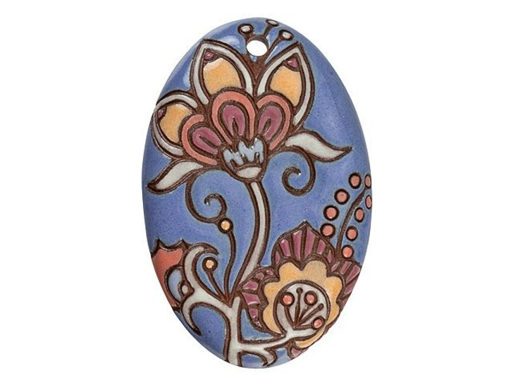 Golem Design Studio Stoneware Long Oval Pendant - Lavender Cotton Flower Design