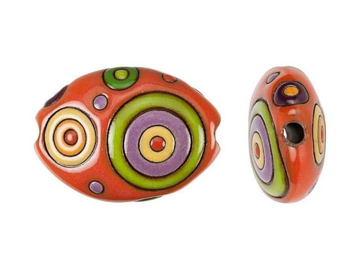 Golem Design Studio Stoneware Oval Bead - Green, Yellow, and Orange Circle Design