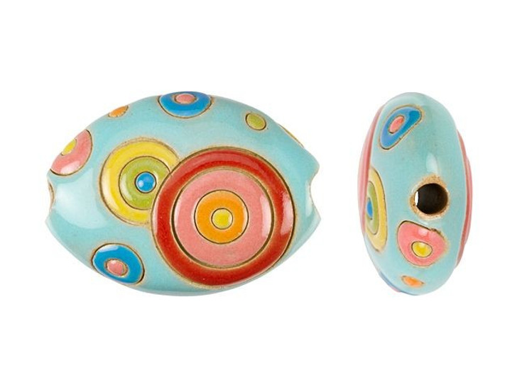 Golem Design Studio Stoneware Oval Bead - Red, Yellow, and Blue Circle Design