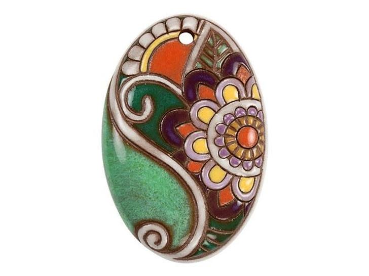 Golem Design Studio Stoneware Oval Pendant - Pink, Purple, and Green Paisley Flower Design