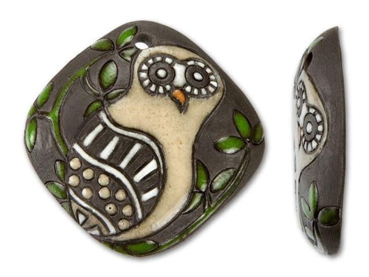 Golem Design Studio Stoneware Owl and Leaves on Brown Diamond Pendant