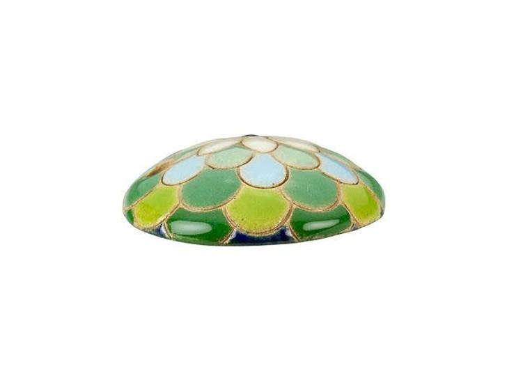 Golem Design Studio Stoneware Pendant - Green, Blue, White Peacock Design