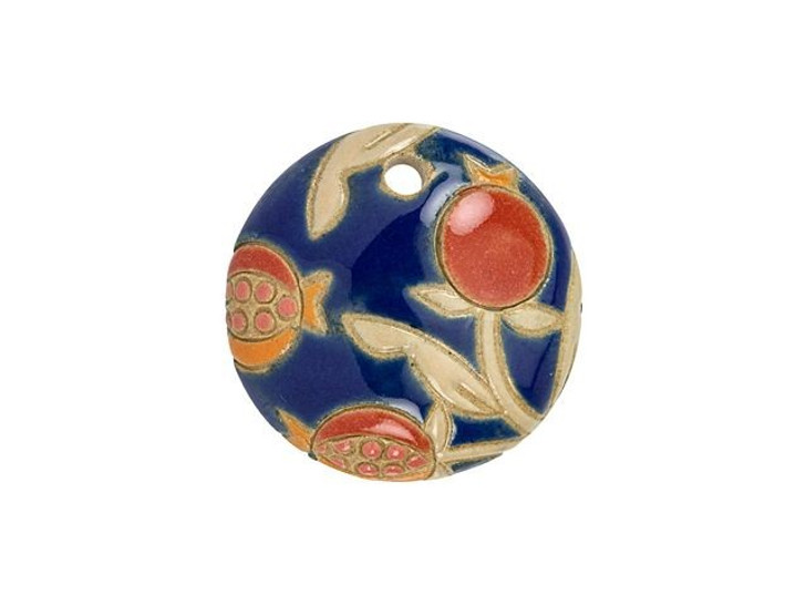 Golem Design Studio Stoneware Pendant - Pomegranates on Blue Design